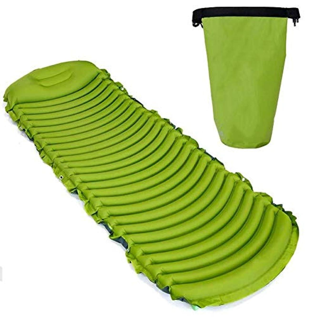 通信網暗唱する静脈インフレータブルスリーピングマット、キャンプマットインフレータブルマットレス防水エアマット枕超軽量インフレータブルパッド用屋外テント (色 : 緑, サイズ さいず : L l)