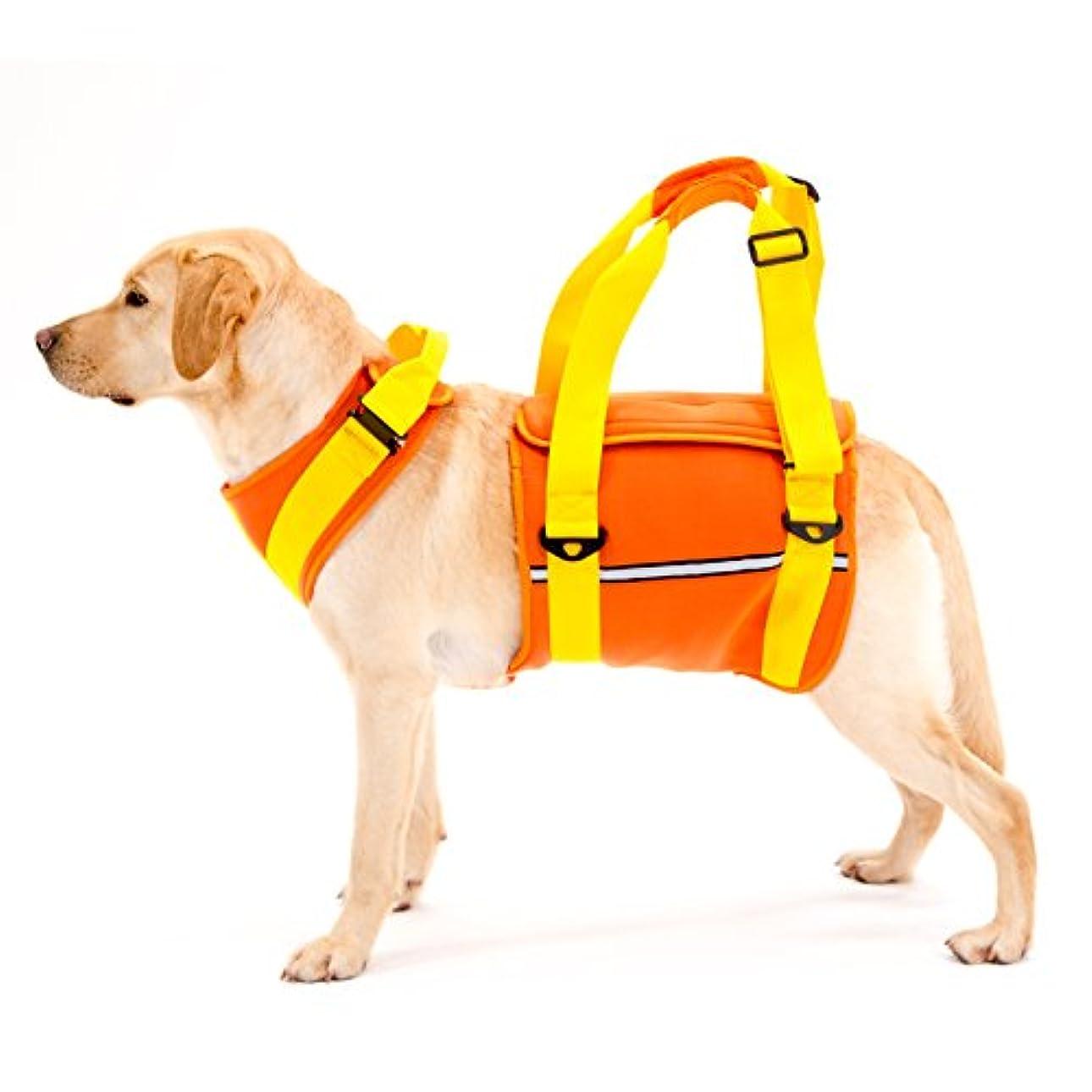 真剣に動く授業料ララウォーク 歩行補助ハーネス 大型犬用 ネオプレーンオレンジ LLサイズ