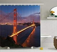 Yeussアパートインテリアコレクション、ゴールデンゲートブリッジの有名な建築風景岬ランドスケーププリント、ポリエステルファブリック浴室のシャワーカーテンセットフック付き、オレンジブルー