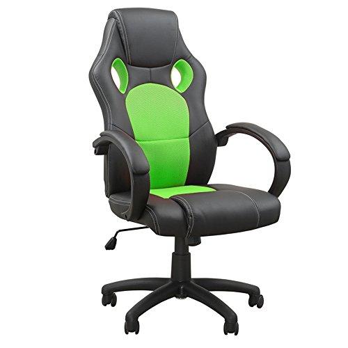 MCTECH オフィスチェア 社長椅子 事務椅子 ハイバック 肘付 パソコンチェアー PCチェアー ビジネスチェア グリーン