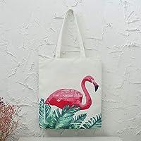 Student Tote Bag, Female Canvas Shoulder Bag School File Flamingo Shopping Handbag (White) Polykor