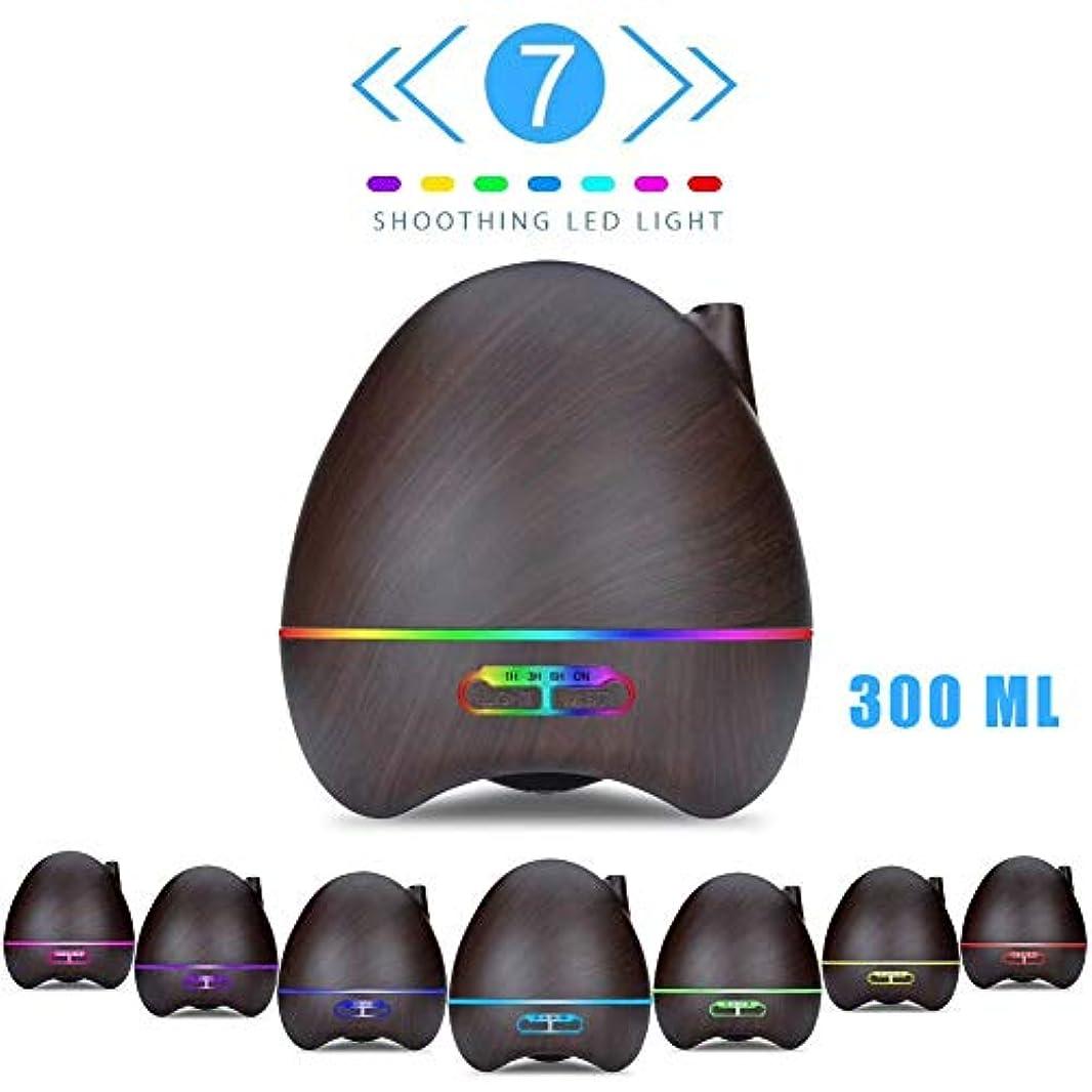 イタリック開発拡散するエッセンシャルオイルディフューザー、300ml木目アロマセラピーディフューザー調節可能なミストモードのクールミストアロマ加湿器7色LEDライト