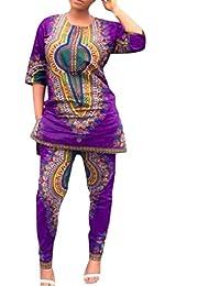 VITryst 女性のプラスサイズサイズカジュアルアフリカンフラワー印刷ダシキsweatit