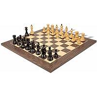 Yugoslavia Stauntonチェスセットエボニー&でBoxwood with Tigerエボニー&メープルチェスボードデラックス – 3.875