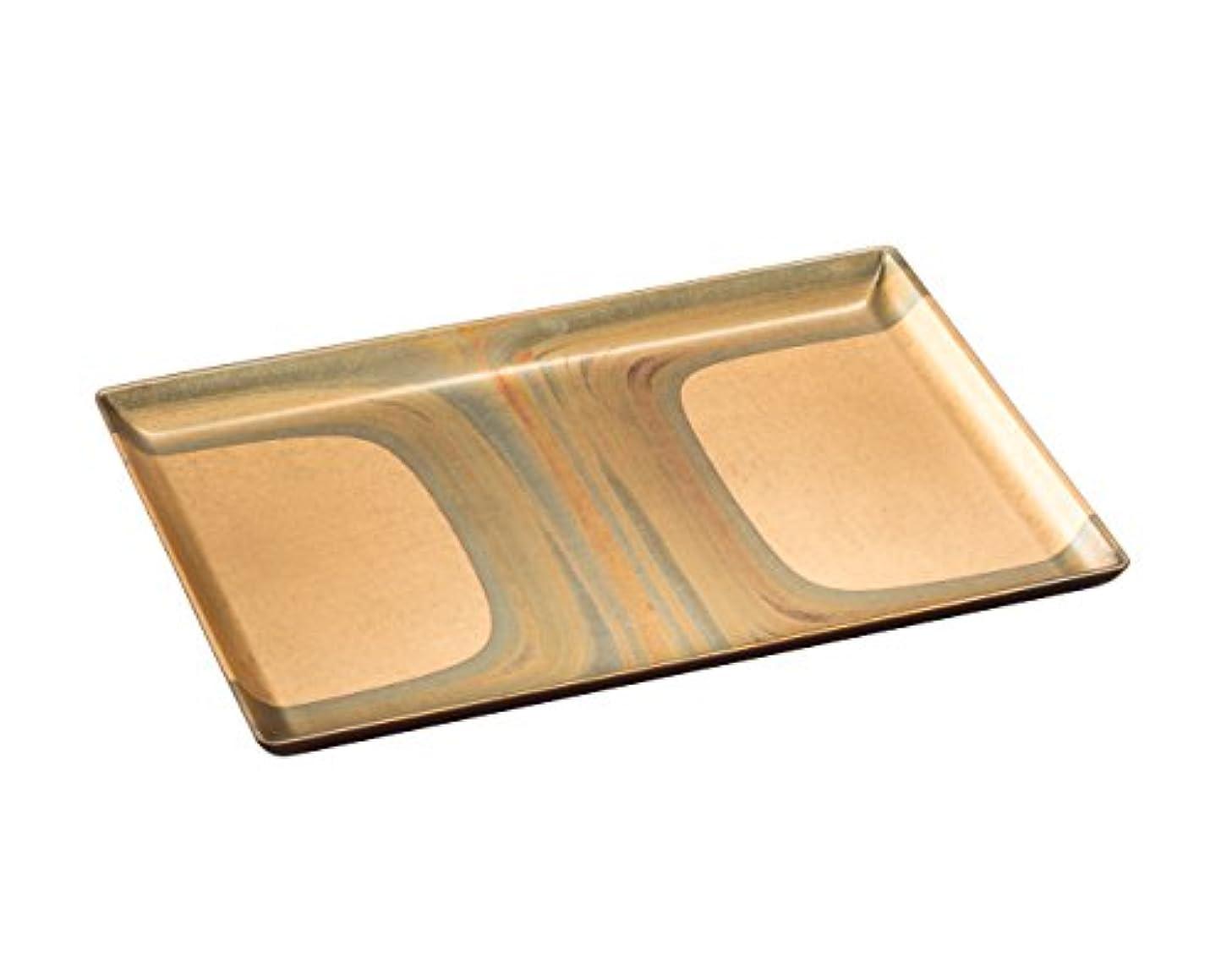グッゲンハイム美術館挨拶する留め金箔一 盆 ゴールド 195×135×15mm 古代箔 お好み盆 A131-02002