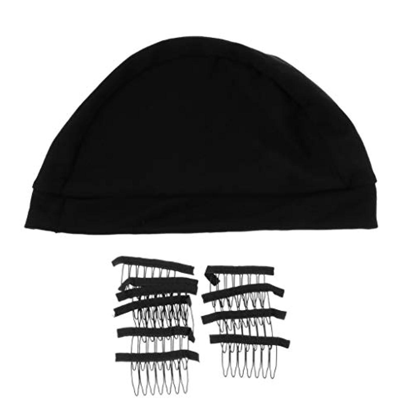 寺院あえぎただやる通気性のあるかつらのネットキャップ付き女性用&男性用かつら用耐久性のあるかつらクリップ - L