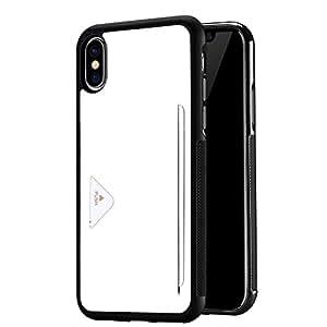 iPhone x ケース 耐衝撃 カード収納 アイフォンX ケース 携帯カバー 軽量 薄型 (ホワイト)