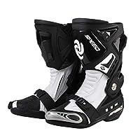 Riding Tribe B1005オートバイ レーシングブーツ バイク用ブーツ 靴 (白, 43)