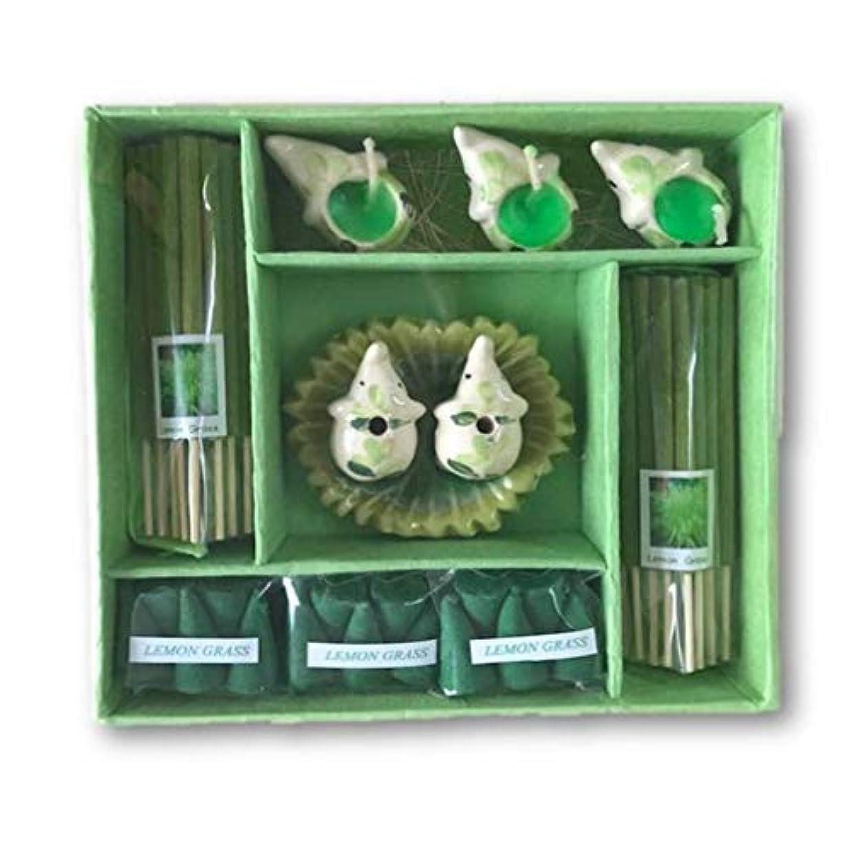 銀行列手荷物THAI アロマキャンドルと象さんのお香ギフトセット (LEMON GRASS)