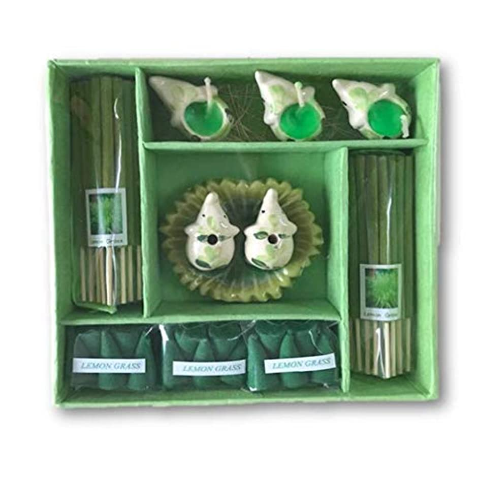 ブロック礼拝折り目THAI アロマキャンドルと象さんのお香ギフトセット (LEMON GRASS)