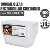 ACE 1000ml Clear Rectangular Container (Pack of 10)