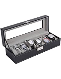 [NENIRI]仕切りケース 時計ケース 小物入れ 整理箱 コレクションケース 見せる収納 ディスプレイ 6本