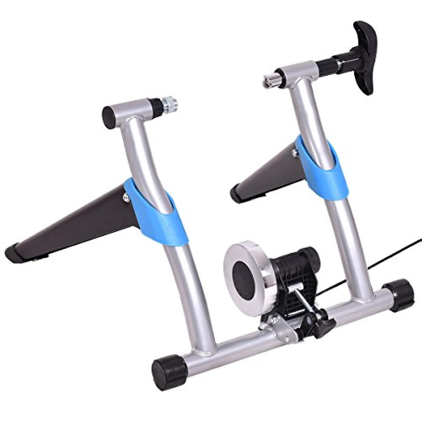 ビートコークス職人Goplus バイクトレーナースタンド ポータブル エクササイズ 自転車トレーナー 固定磁気抵抗マシン 静かでスムーズなペダリング 8段階調節可能 シルバー