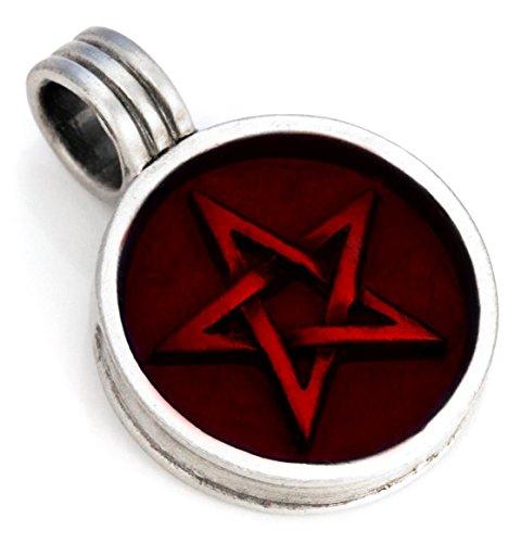 Bico Australia [サーフ ビコ] 五芒星(ごぼうせい) ペンダント (B11 赤) - 厄払い、白い魔女のサイン - カラー樹脂とメタル 、トライバル・ストリート・ ジュエリー