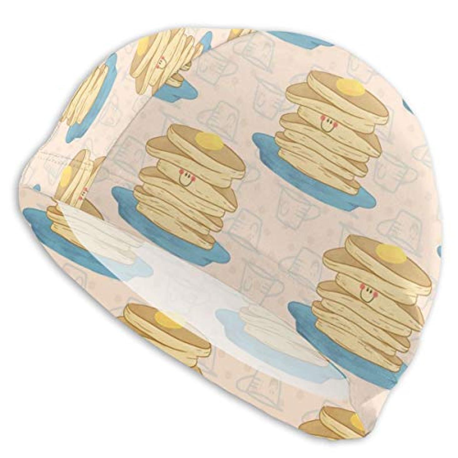 電気の体系的にマントハッピーパンケーキパターンスイムキャップ スイミングキャップ 水泳キャップ 競泳 水泳帽 メンズ レディース 兼用 ゆったりサイズ フリーサイズ(28-33cm)