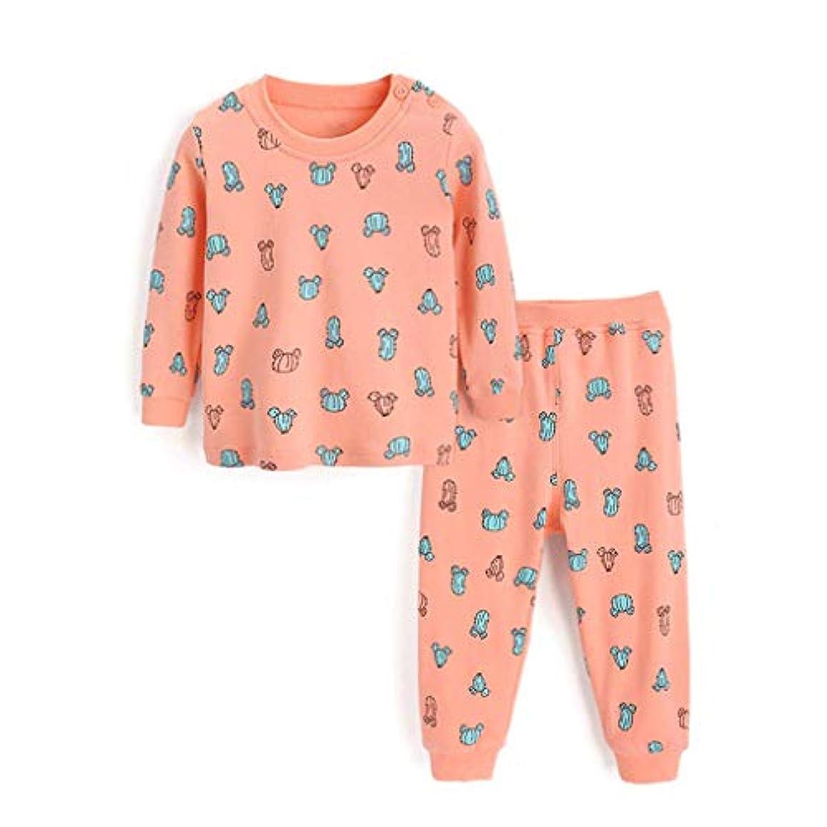 付けるお願いします変更可能子供用パジャマセットコットン春と秋と冬の女の子パジャマ秋の服ハロウィンパジャマ長袖2セットパジャマ年齢1-7歳 (Size : Orange color-73CM)