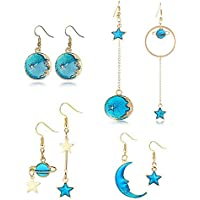 Long Drop Dangle Earrings for Women - Enamel Blue Star Moon Planet Circle Round Big Asymmetric Earrings Fashion Jewelry Set for Girl Birthday Christmas Party Gifts 4 Pairs