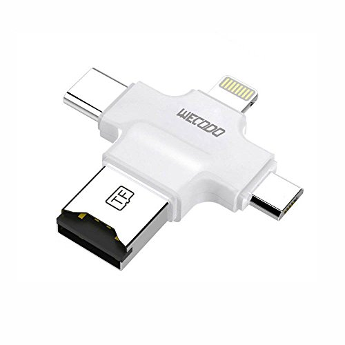 WECODOカードリーダー 4IN1 Micro SDカードリーダー Lightning MicroUSB Type-c MciroSDカードリーダー,IOS/android/Type-C対応 高速な写真/ビデオ転送,iPhone/iPad/iPod/android/Type-C携帯電話のOTG micro SDカードリーダー