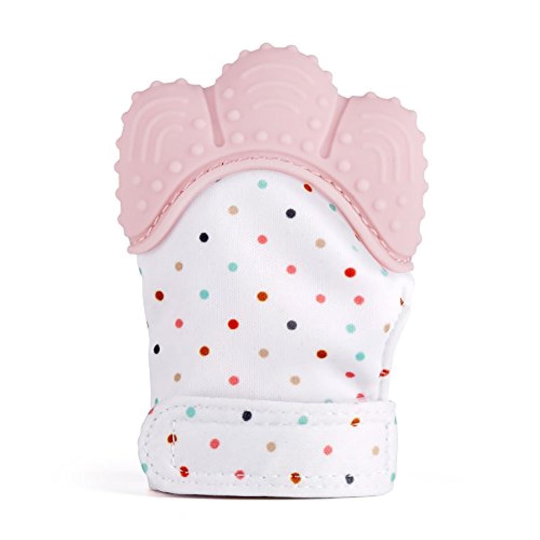 ベビーティーニットミトン/ Soother Gloves / Teethers / Gingivaマッサージ/自己鎮静痛み緩和/ Teetherお子様にお子様に喜ばせる/ BPAフリー&フードグレードTeething Glove for 3-12 months Baby from Kaimao(ピンク)