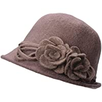 Lawliet Womens Retro Collapsible Soft Knit Wool Cloche Hat Bucket Flower A466