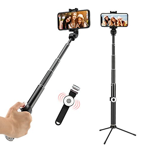 Bluetooth Selfie Stick, Anbage Extendable Monopod with Tripod Stand, Wireless Shutter Remote and 360 Degree Adjustable Compatible with iPhone, Samsung, Other Android Phones