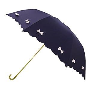 ピンクトリック 折りたたみ傘 日傘/晴雨兼用 カラフル リボン ネイビー 8本骨 50cm UVカット 97%以上 34791