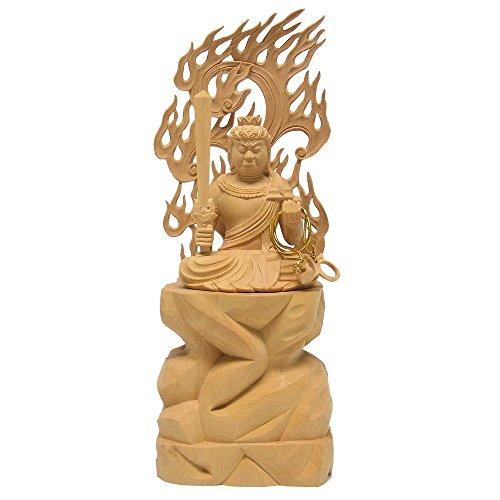 柘植 不動明王 坐像 25cm 木彫り 仏像