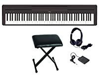 【折り畳みイス(黒) ヘッドホン セット】 YAMAHA/ヤマハ P-series P-45 B 電子ピアノ 黒/ブラック