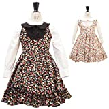 木の実とお花柄の襟付きジャンパースカート kid019 子供服 90 100 110 120 130cm オフ白 140