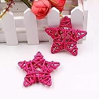 MEI1JIA 10 PCS 6センチメートル人工わらボールDIY装飾ラタンスタークリスマスの装飾ホーム装飾用品(ピンク) (Color : Pink)