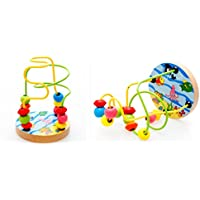 Joyeee Multicolor Wooden Bead Roller Coaster 3 - Ocean Life Pattern - Compact Size Early Education Beads Maze Toys for Your Kids - Perfect Christmas Gift Ideas