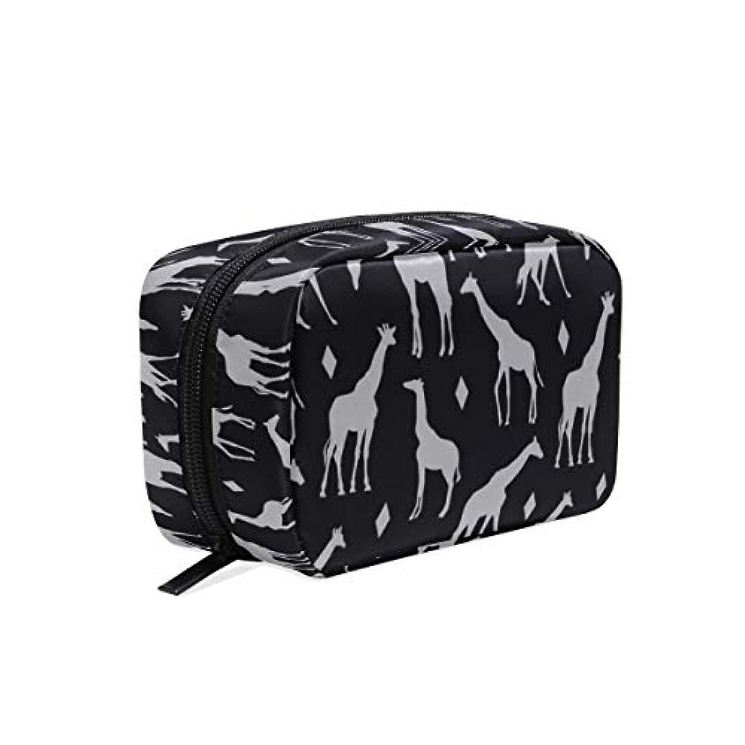 称賛タワー分類キリン柄 グレイ 化粧ポーチ メイクポーチ 機能的 大容量 化粧品収納 小物入れ 普段使い 出張 旅行 メイク ブラシ バッグ 化粧バッグ
