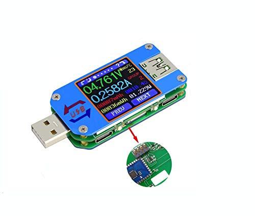WINGONEER UM25C USB電圧計、Bluetooth Type C USBテスターメーターUSB電圧メーターおよび電流テスター、1.44インチ5AカラーLCDディスプレイパワーテスターマルチメーター、QC 2.0 3.0