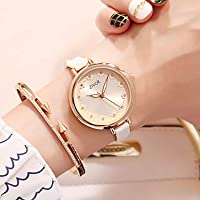 Women's Dress Watch Wrist Watch Quartz Leather White/Rose 30 m New Design Casual Watch Imitation Diamond Analog Ladies Flower Fashion - White Fuchsia Two Years Battery Life