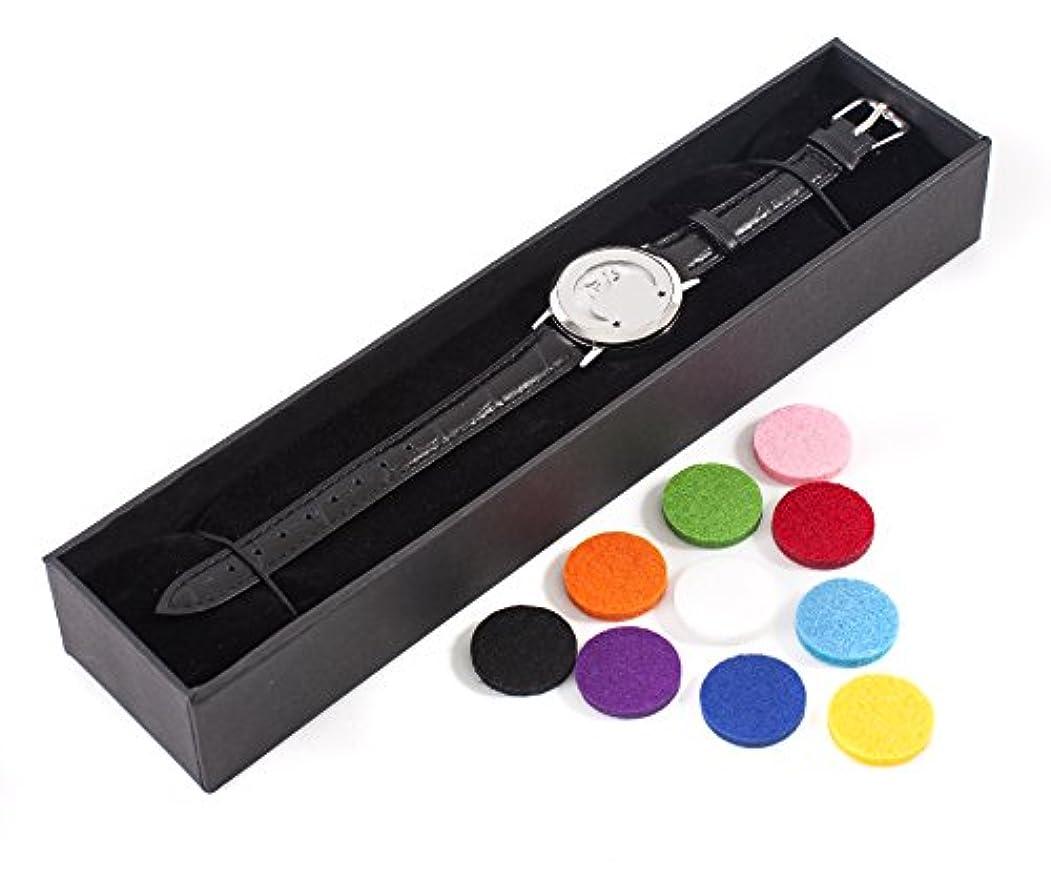 家事ミュウミュウ百Mystic Moments | Mystical Moon | Aromatherapy Oil Diffuser Bracelet with Adjustable Black Leather Strap