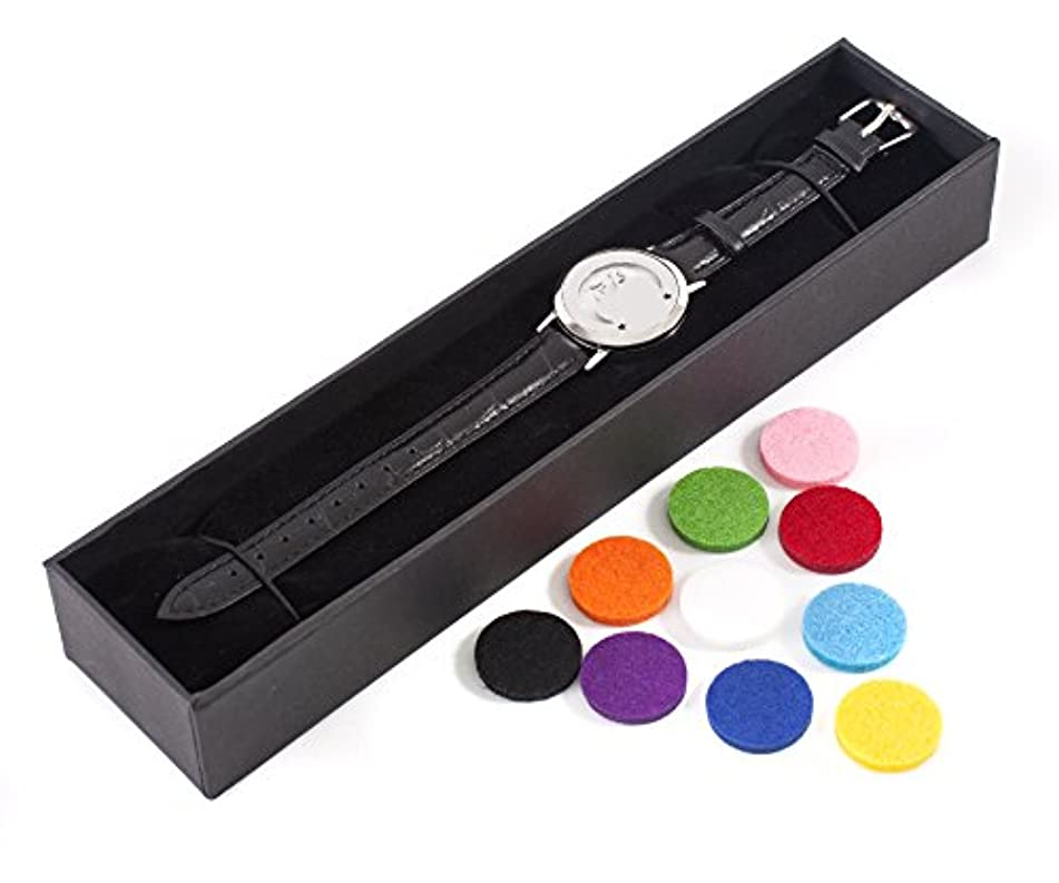 長方形暗くする腹痛Mystic Moments | Mystical Moon | Aromatherapy Oil Diffuser Bracelet with Adjustable Black Leather Strap