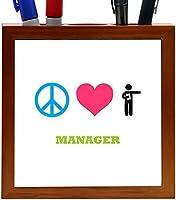 Rikki Knight Peace Love Manager Design 5-Inch Tile Wooden Tile Pen Holder (RK-PH41524) [並行輸入品]