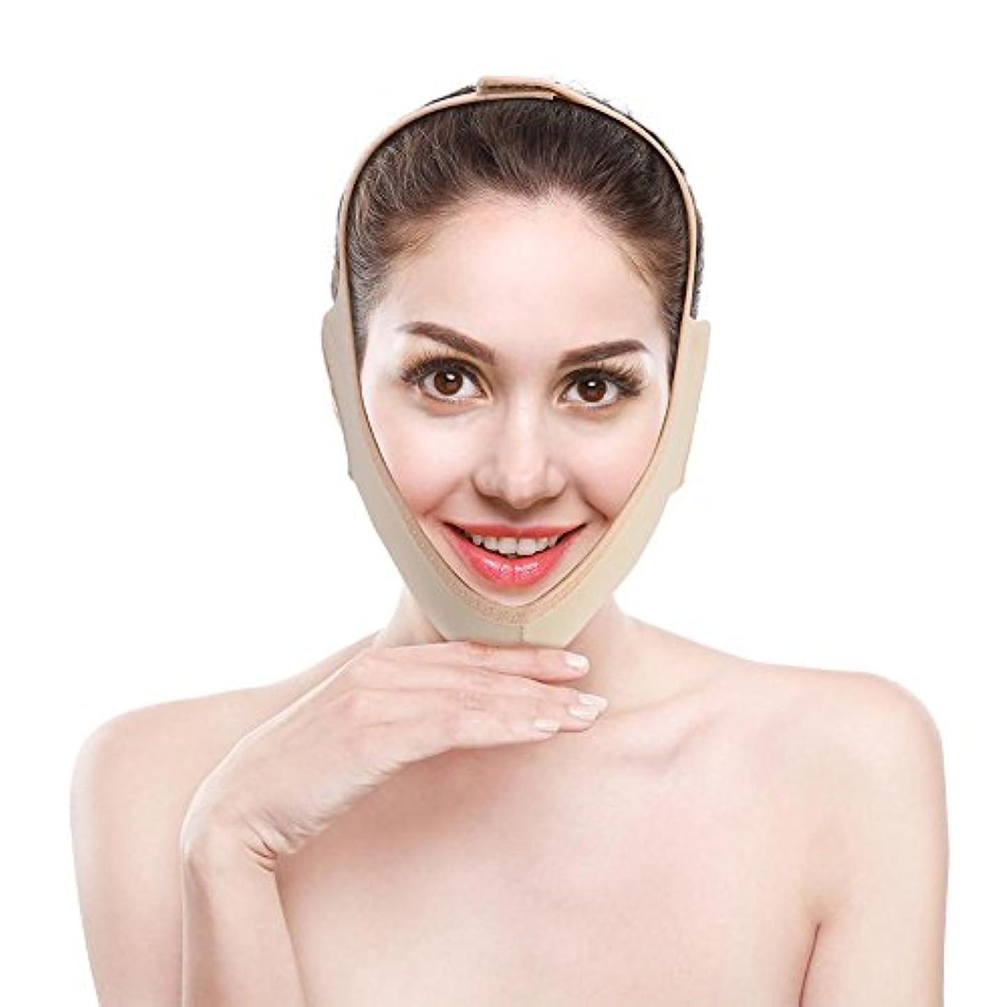 国籍開発前売顔の輪郭を改善するVフェイス包帯、フェイスリフト用フェイスマスク、通気性/伸縮性/非変形性(M)