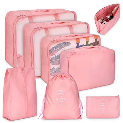 LEEFE トラベルポーチ 8点セット アレンジケース パッキング 旅行用 出張 便利グッズ 衣類収納4個 PC周辺小物用ポーチ1個 靴バッグ1個 巾着袋1個 小物入れポーチ1個 (ピンク)