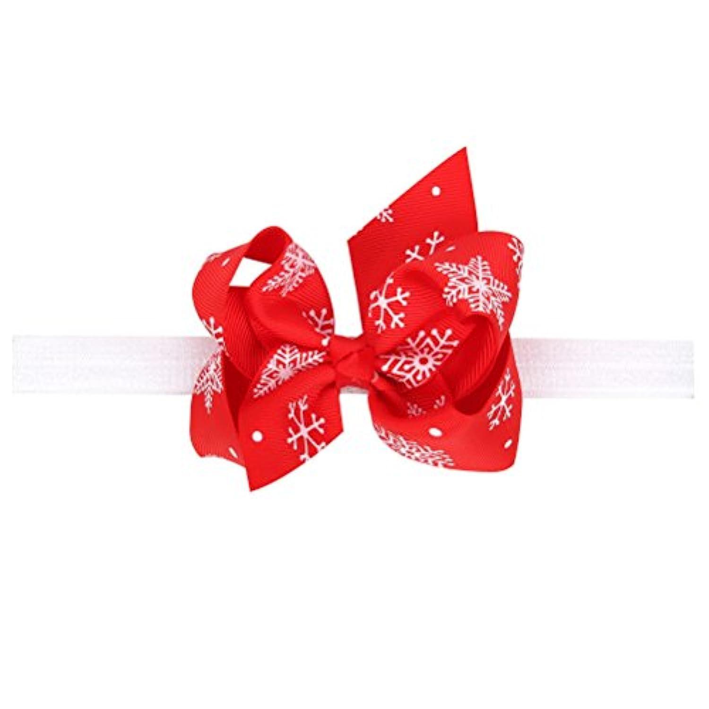 Zhhlaixing ベビー小物 Baby Girls Kids Elastic Ribbon Snowflake Bowknot Headband Hairband Hair Accessories for Christmas