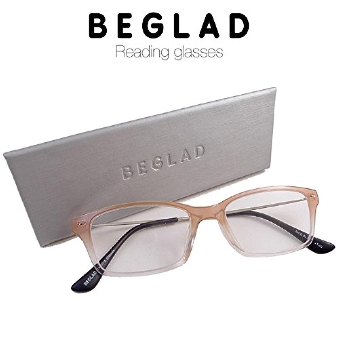 ビグラッド(BEGLAD) 老眼鏡 ベージュ 度数:+2.50 【グラデーションカラーがオシャレ!ケース付で便利】 BL3004BG