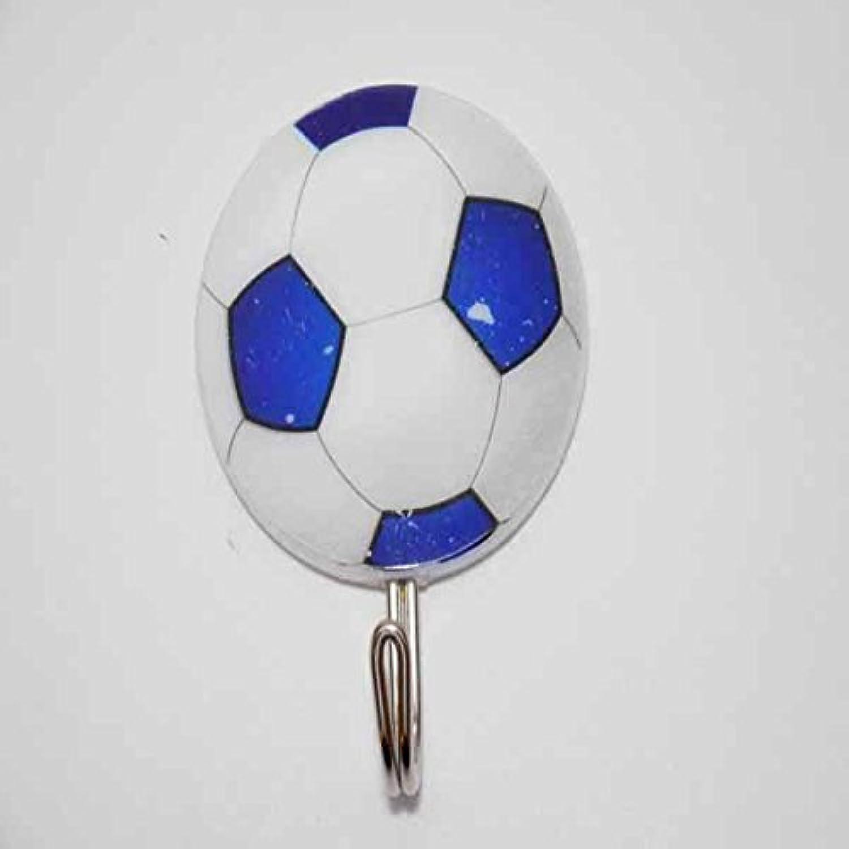 (訳アリ初期かすれあり) サッカーボール柄の壁掛けフック 1個 (青白)