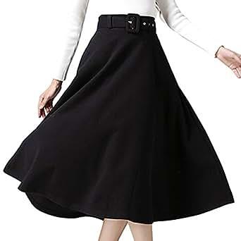 (アッシュランゲル) ASHERANGEL レディース ロングスカート ベルト付 Aラインスカート 厚手 S ブラック