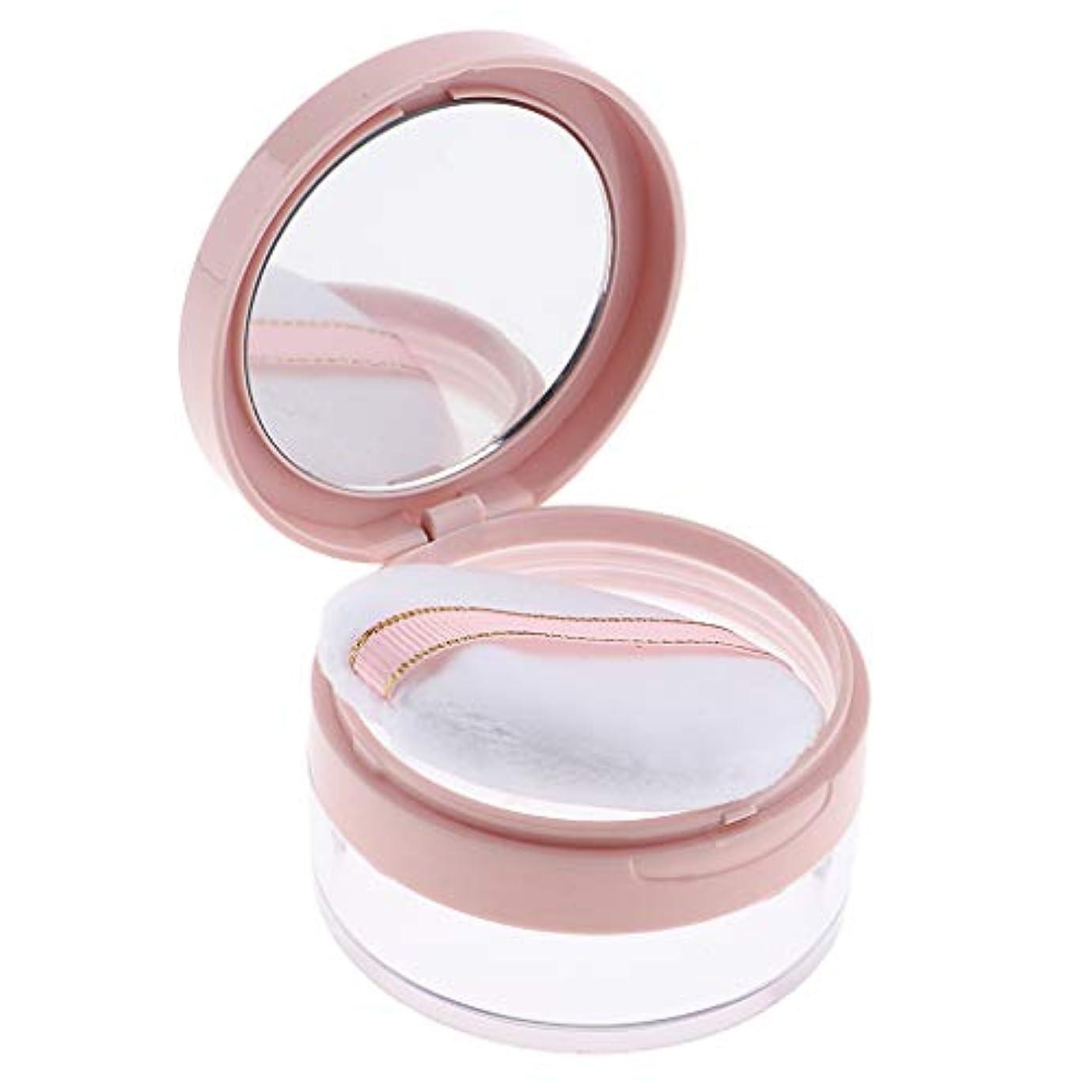 最小化するフリル想像力F Fityle パウダーケース 化粧品 ジャー 鏡 パフ 2色選べ - ピンク