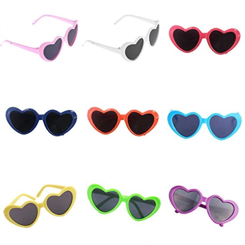 Fenteer 全9個 愛らしい ハート型サングラス 眼鏡 人形アクセサリー 18インチアメリカンガールドール対応