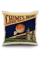 Chimesブランド–Tulare、カリフォルニア–Citrusクレートラベル 20 x 20 Pillow (Natural Border) LANT-3P-PW-NL-57329-20x20