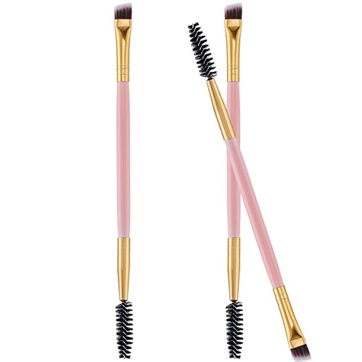 Frienda 3パック目ブローブラシ眉毛スプーリダブルブローパウダーワックスゲルとブレンド 適用 アングルや眉毛コームハンドル ピンク