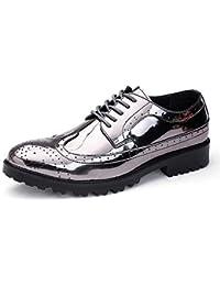 Honghui constructio メンズファッショナブルシャイニーPUレザーVampレースアップ通気性の靴