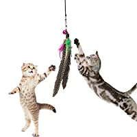Bazaarペット猫おもちゃFeather TeaserプラスチックWandおもちゃTeasers With Bell for Cat Play Fun