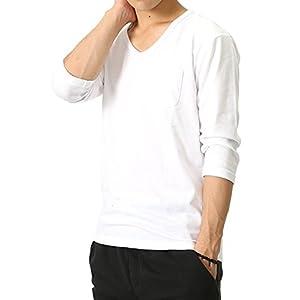 (リピード) REPIDO Tシャツ 七分袖 メンズ Vネック ポケット付 無地 カットソー ホワイト Lサイズ